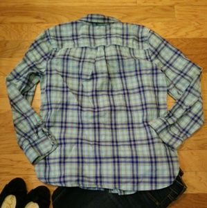 Talbots Tops - Talbots Plaid Ruffle Front Button Down Blouse